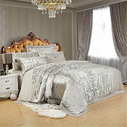 JSHECOVER Sliver Gold-Silk Satin Jacquard Bettbezug Bettwäsche Set Königin King Size Stickerei Spannbettlaken Set Color 2 Queen 4Pcs Bed Sheet Style