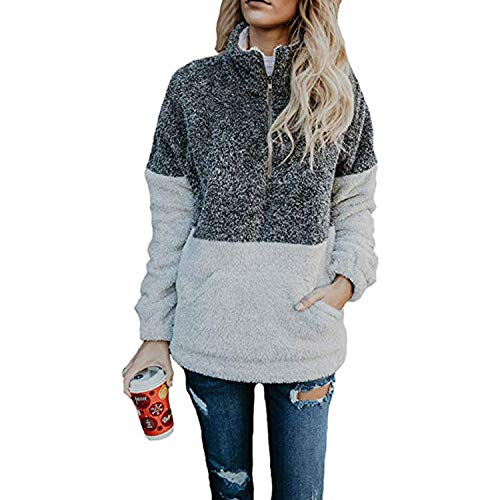 FIDGEETERRELAX Damen Langarm Sherpa Sweatshirt Fleece Pullover Outwear Coat - Grau - Groß Womens Half Jacket