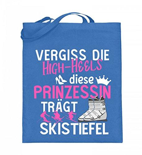Hochwertiger Jutebeutel (mit langen Henkeln) - Ski Shirt · Wintersport · Lustiges Geschenk für Ski-Fahrer · Spruch: Prinzessin Skistiefel