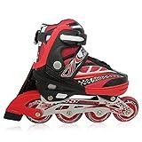 Kinderinliner Inline-skates mit Leuchtenden Rollen - Größen-verstellbar über vier Schuhgrößen - Rot - Gr. M (33-36)