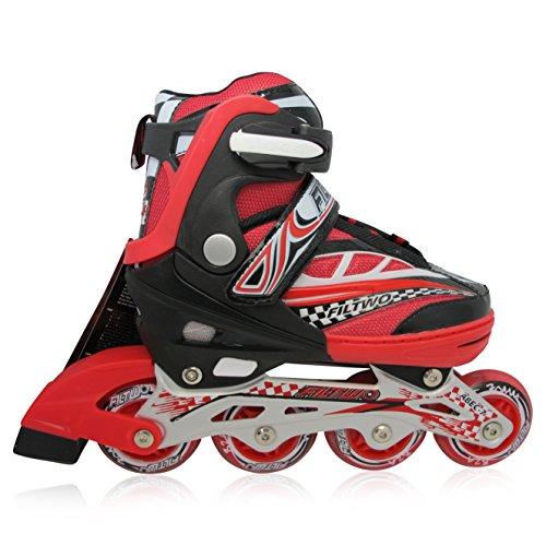 Kinderinliner Inline-skates mit Leuchtenden Rollen - Größen-verstellbar über vier Schuhgrößen - Rot - Gr. L (37-40)