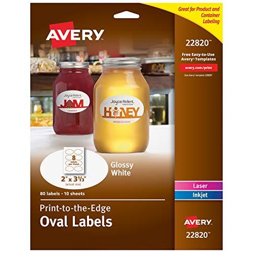 Avery sogar Glänzende Ovale Etiketten, True Print, 5,1x 8,4cm 80Stück Oval Etiketten (22820) - Avery-etiketten-oval