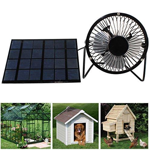 3W Solar Panel Powered 10,2cm USB Mini Fan tragbarer Ventilator für Wohnwagen Chicken House Gewächshaus Dach Vent (Trailer Solar Power)