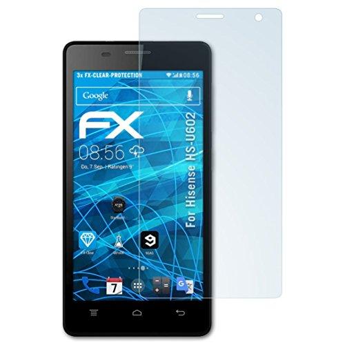 atFolix Schutzfolie kompatibel mit Hisense HS-U602 Folie, ultraklare FX Bildschirmschutzfolie (3X)