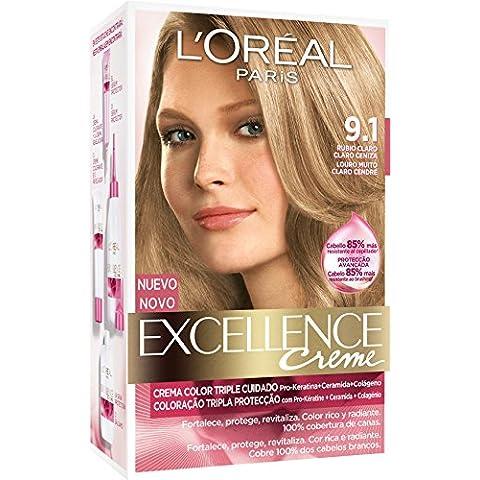 L'Oréal Paris Coloración Excellence Crème Triple Protección 9.1 Rubio Ceniza Claro - 268 gr