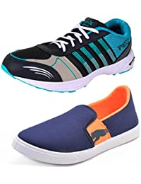 BRUTON COMBO Pack Of 2 Pair Of Shoes Orange & Blue (Sport Shoes & Sneakers Shoes)
