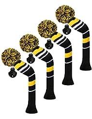 Scott Edward/utilidades fundas de cabeza de palo de golf híbridos, 4 piezas packed alerta, rayas, hilo acrílico double-layers de punto, con giratorio número etiquetas, 3 colores opcionales, amarillo