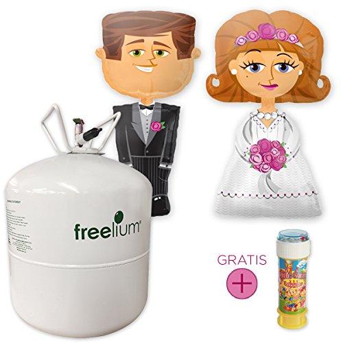 Preisvergleich Produktbild Hochzeits-Set: freelium® go 410 Helium Jumbo Flasche + Airwalker Brautpaar Braut & Bräutigam + GRATIS Seifenblasen