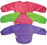 Silly Billyz Long Sleeve Fleece Baby Bib Small Pack of 3 Cerise/Cerise Lime/Purple