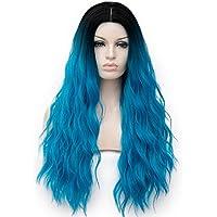 Amback largo tinte oscuro raíces Ombre Cosplay Peluca De Halloween Para Mujer Peluca de pelo rizado onda tapa/azul RF3–