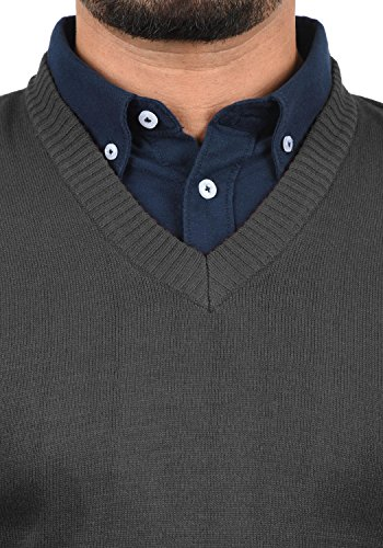 Blend Larsson Herren Pullunder Strickweste Feinstrick Mit V-Ausschnitt, Größe:M, Farbe:Charcoal (70818) - 4