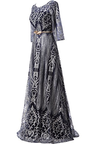ivyd ressing Femme élégant longue robe robe ceinture A ligne Party Prom Lave-vaisselle manches Robe Robe du soir Schwarz
