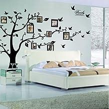 Zooarts extraíble de fotos de pájaro en árbol negro adhesivo de pared mural adhesivos vinilo decoración casa salón dormitorio