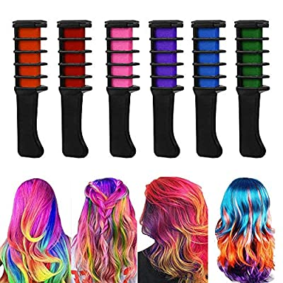 Hair Chalk - 6 Pcs Temporary Hair Chalk Comb Hair Dye For Halloween Celebration Make Up Party Cosplay And Diy Non-toxic And Easily Washable Adults & Kids