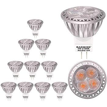 baoming GU4 MR11 LED bombillas 12 V 3 W 250 lm ángulo de 30 ° haz foco LED equivalente a 35 W Bombilla halógena luz blanca cálida, 2700 K, bombillas LED, ...