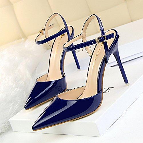 Lgk & Fa Sandales En Cuir À Bout Pointu Stilettos A Chaussures À Boucle 38 The Red Wine 37 Blue