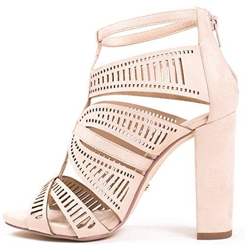 Ideal Shoes Sandales Ajourées Effet Daim à Talons Naya Beige