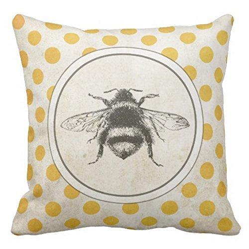 Kissenbezug mit Biene im Vintage-Stil, auf gelb gepunktetem Kissen, Canvas-Material, einseitig bedruckt, 45,7x 45,7cm -