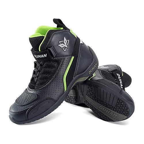 Stivali da Corsa Uomo Stagione 4 Scarpe da Equitazione per Moto Traspirante Stivali da Moto off-Road Basso Caviglia Scarpe di Gomma da Strada,Black+Green-UK7.5/EUP42