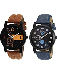 Xforia Boys Watch Brown Leather Stylish Analog Watches For Men Pack Of 2