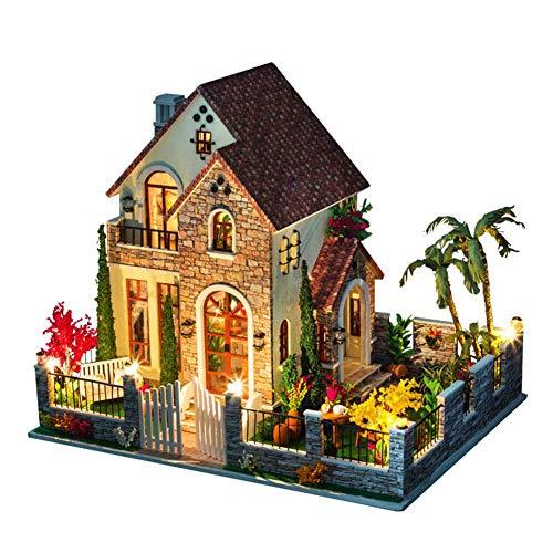 Todaytop Miniatur Dollhouse Kit Dekorationen mit Lichtern und Möbel Exquisite DIY House Craft Kits Geburtstage Geschenke für Jungen und Mädchen(Liebe Wohnungen)