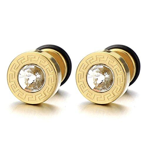 8-10MM Or Boucles d'oreilles Homme avec 4MM Zircon Cubique et Motif clé Grecque - Acier Inoxydable - 2 pièces largeur:10MM