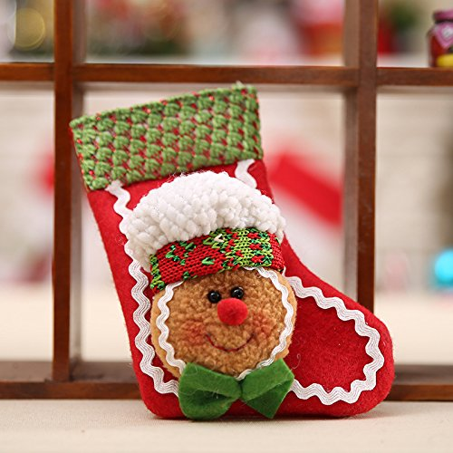 Auntwhale ornamento classico dell'albero delle calze di natale della bambola del pan di zenzero, decorazione dei calzini appesi di natale, decori con ciondolo in maglia chrismas tree