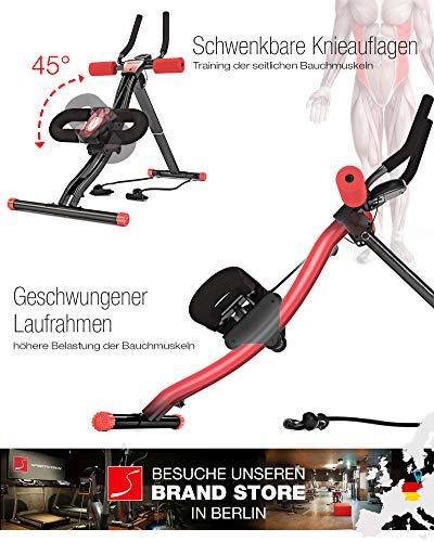 TESTSIEGER Sportstech BT300 Profi Bauchtrainer mit schwenkbarer Knieauflage für seitliche Bauchmuskeln, S-Form Schiene, 25 Einstellmöglichkeiten + Widerstandsbänder inkl. AB Shape Trainer für Sixpack - 2