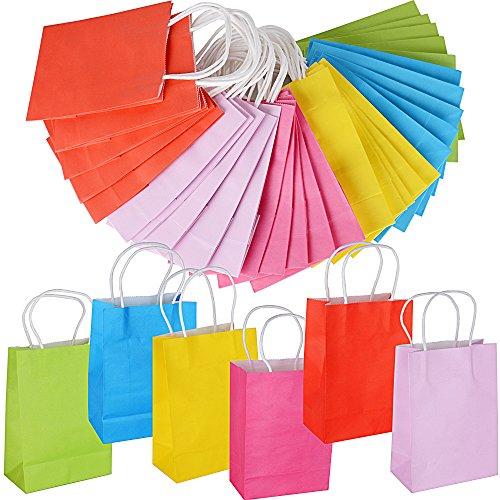 AONER 30 pz 6 Colori Sacchetti Borse Carta Kraft Colorate con Manici per Regalo Shopping Alimenti Dolci Paper Bags (15 * 8 * 21cm)