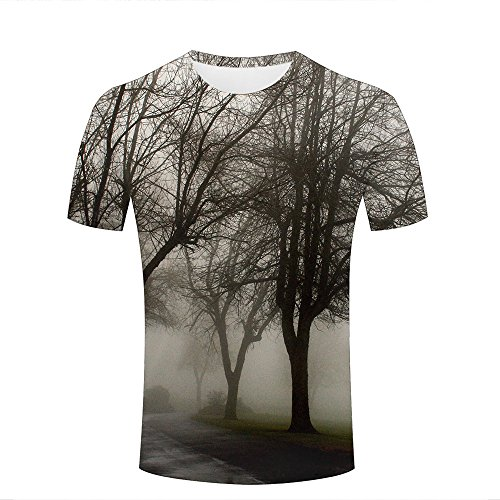 ouzhouxijia Mens T-Shirts 3D Printed Trees Fog Graphic Couple Tees B