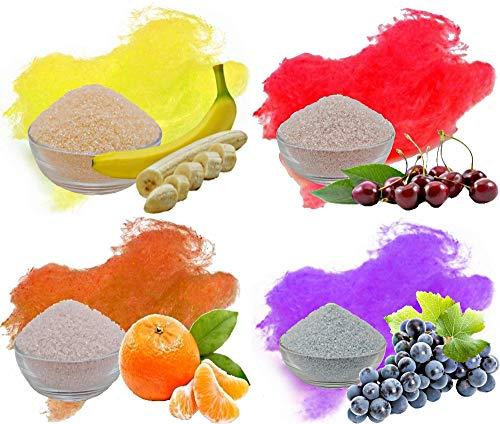 Aromazucker Set für bunte Zuckerwatte 4x250g mit Geschmack | Banane - Gelb, Kirsche - Rot, Apfelsine - Orange, Traube - Lila | Farbaromazucker und Dekorzucker für Zuckerwattemachinen