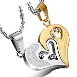Cupimatch 2-Teilig Herren Damen Edelstahl I Love You Herz Strass Puzzle Passender Anhänger Paar Halskette mit 50 cm & 55 cm Kette, Gelb