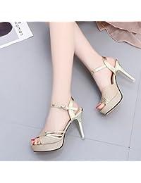 LGK   FA Sommer Damen Sandalen Super High Heel Wasserdicht Tisch Frauen  Sandale Goldene Hochzeit Schuhe df6ce9423c