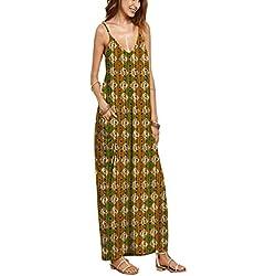Playa vestido, las mujeres cuello de pico verano Casual Loose tiras en forma de larga Boho Maxidress, Floral impresión de Grandes sin mangas vestido de cóctel Velada Fiesta Vacaciones de playa, 10 Color disponibles mediano color8