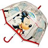 Unbekannt Regenschirm -  Disney - Mickey Mouse - ROT  - Kinderschirm Ø 70 cm / durchsichtig & durchscheinend - transparent - Kinder - groß Stockschirm mit Griff - Reg..