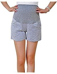Flora, Damen Schwangerschafts Sweatshorts Casual Gerades Bein Schwarz Grau Volles Bein