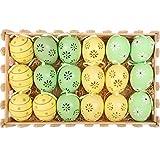 Valery Madelyn Decorazione di plastica Naturale delle Uova di Pasqua 6cm Set 18 Uova verniciate Floreali d per Primavera e Verde Giardino/Giallo