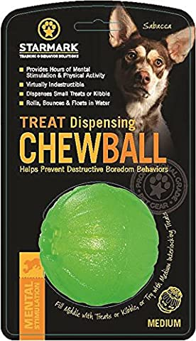 Starmark Treat Dispenser Chew Ball for Dogs, Medium