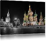 Basilius Kathedrale in Moskau schwarz/weiß Format: 120x80 auf Leinwand, XXL riesige Bilder fertig gerahmt mit Keilrahmen, Kunstdruck auf Wandbild mit Rahmen, günstiger als Gemälde oder Ölbild, kein Poster oder Plakat