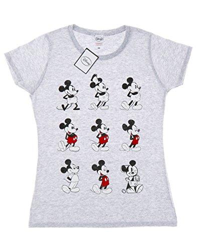 Disney Femme Mickey Mouse Evolution T-shirt Heather Gris