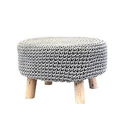 THE HOME DECO FACTORY hd3706Pouf-Repose mit Fuß geflochten Baumwolle/MDF, hellgrau, 49 x 49 x 30 cm