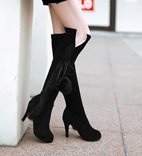 Mee Shoes Damen Pompon warm gefüttert langschaft high heels Stiefel Schwarz