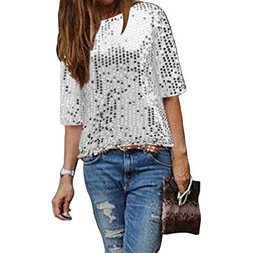 Damen Bluse IHRKleid Frauen Strapless Pailletten beiläufige lose T-Shirt Tops Langarm weg von der Schulter Hemd Bluse (S, Silber)