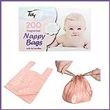 Caja 200desechables bebé perfumada fragancia higiénica para pañales bolsas sacos con mango