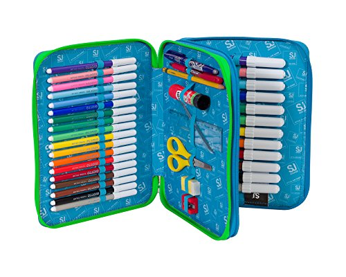 Estuche Escolar 2 Compartimentos Seven Maxi – SJ Boy – 2 Pisos – Naranja Azul – con lápiz, marcadores, boligrafos.