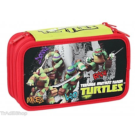 Trade shop traesio- astuccio 3 zip 3 scomparti triplo 43 pezzi tartarughe ninja tmnt giochi preziosi