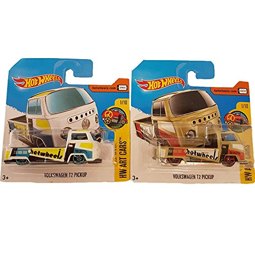Hot Wheels Pack 2 Volkswagen T2 Pickup Hw Art Cars (Beige & White) 1/10