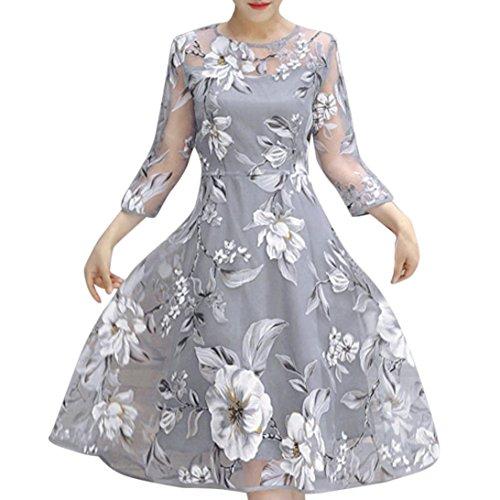 (VEMOW Heißer Verkauf Elegante Damen Frauen Sommer Oansatz Organza Blumendruck Hochzeitsfest Ball Abendkleid Cocktail Retro Kleid(Grau, EU-34/CN-S))