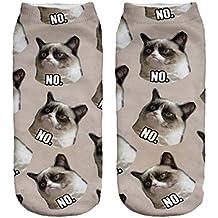 Calcetines divertidos tema de deporte de los modelos lindo de algodón de colores 3D Funny Grumpy Cat [001]