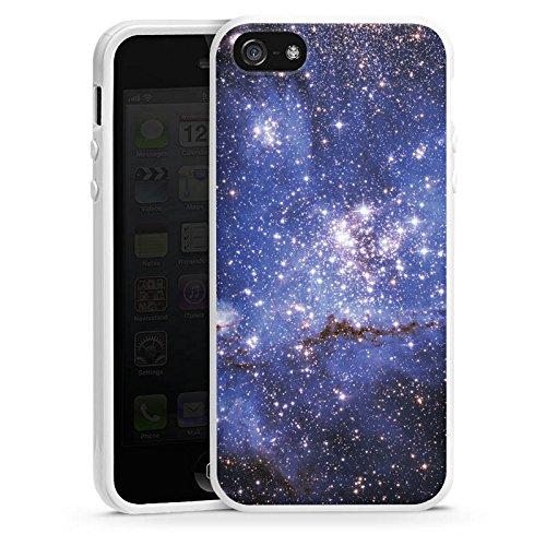 Apple iPhone 5 Housse Étui Silicone Coque Protection Galaxie Motif Motif Housse en silicone blanc